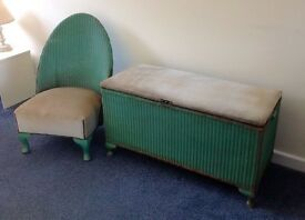 Vintage/ Mid Century/Retro c1950s Lloyd Loom Ottoman/ Blanket box and Chair Matching Set