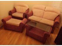 Haddon House Kentmere Dark Honey Rattan Ivory Cushions 4 Piece Furniture Set Excellent Condition
