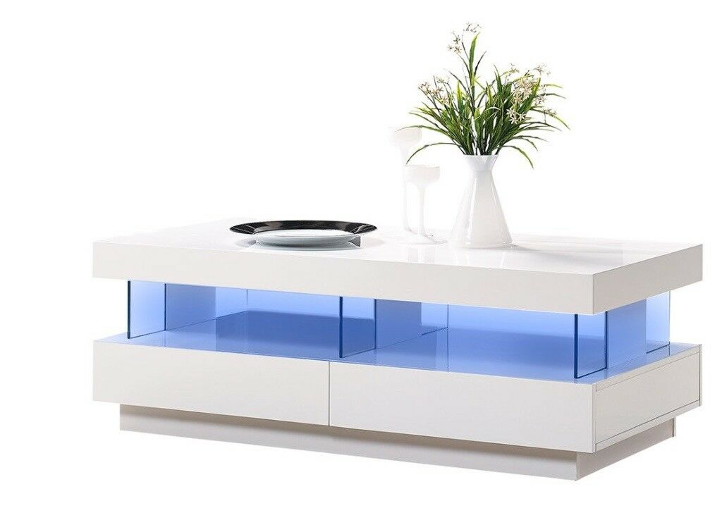 White High Gloss Coffee Tables With Rgb Led Lights