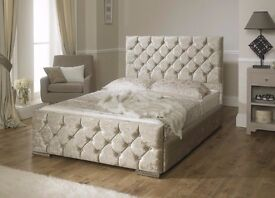 Luxury Double Chesterfield Crushed Velvet bed in Different colors! ORDER NOW FOR SAME DAY DELIVERY