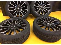 """BRAND NEW 22"""" GENUINE RANGE ROVER STYLE 16 STEALTH ALLOY WHEELS & NEW PREMIUM BRANDED SILENT TYRES"""