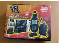 Cell talk hands free universal cell phone holder and speaker