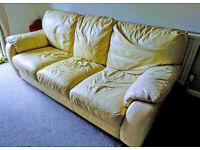 Leather Sofa 3-Seater Beige Colour.