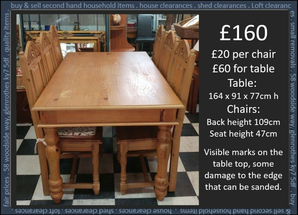 Gothic Pine Dining Table And Chairs