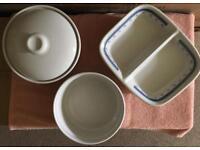 Casserole Dish, Ridged Dish and 3 Veg Dishes