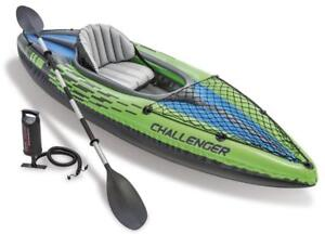 NEW Intex Challenger K1 Kayak, 1-Person Inflatable Kayak Set with Aluminum Oars and High