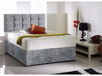 Delivery 7 Days a week GOOD Quality Crushed Velvet Divan Bed Luxury Mattress Diamante Headboard
