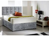 Can Deliver Today GOOD QUALITY Crushed Velvet Single Double Bed Luxury Mattress Diamante Headboard