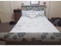King Size Grey Fabric Wood Frame in Excellent Condition Like Brand New , Very Easy to Disassemble
