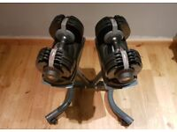 BodyMax Selectabell dumbbells, 3 Olympic bars, 75kg rubber weights & heavy duty weighlifting bench