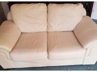 Free - cream imitation leather 2 and 3 seater sofas