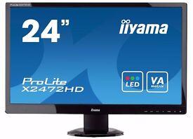 """iiyama 24"""" fullHD 1920 x 1080 monitor HDMI full HD 1920x1080 1080p x2472hd TV"""