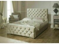 🔥🔥CASH ON DELIVERY🔥🔥 CHESTERFIELD CRUSHED VELVET DOUBLE BED FRAME SILVER, BLACK AND CREAM