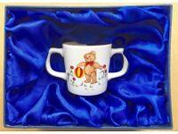 Vintage Mason's Ironstone double handled child's mug with teddy bear design