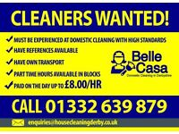 Experienced Cleaners urgently wanted in - LITTLEOVER, MICKLEOVER, ALLESTREE, CHADDESDEN & OAKWOOD