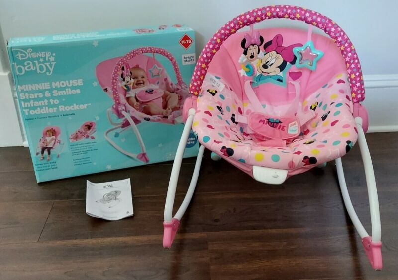 NICE! EUC. Bright Starts Disney Baby Minnie Mouse Infant to Toddler Rocker seat