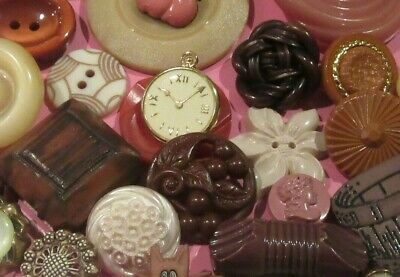 Lot Vintage New Buttons Cat Flower Bucket Cherry Celluloid Knot Clock Craft
