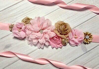Pink/Champagne Maternity Sash Belt /Baby Showers Vintage Belt /Flower Girl Sash