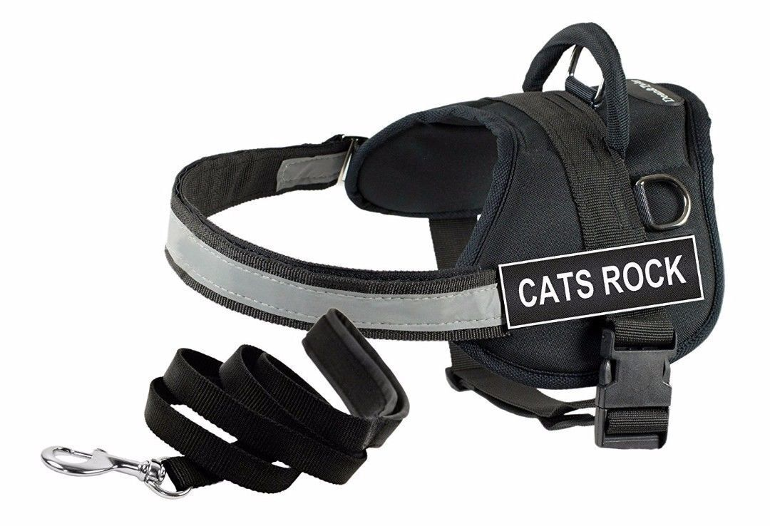 Dean and Tyler CATS ROCK Harness XX Small 18-22 Inch Girth 6 Ft Padded Leash NEW
