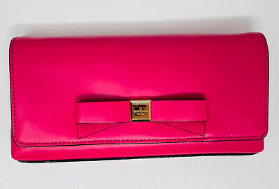 NWT Kate Spade Montford Park Smooth Sweetheart Pink Leather Clutch w/Bow Purse