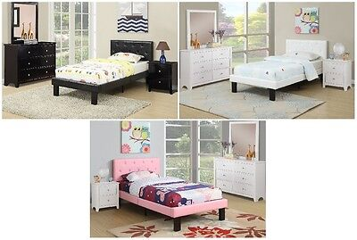 PU Upholstered Headboard Platform Kids Twin Wood Bed with Black White Pink color