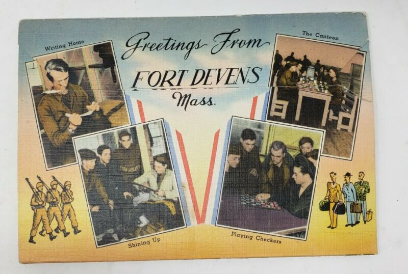 Fort Devins WWII Souvenir Folder Colorized Photographs PX Free Shipping