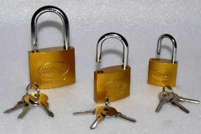 3x Sicherheit Vorhang Tür Garage Keller Haus Bügel Schloss Stahl 48 60 75mm Gold