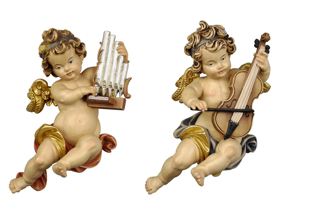 Putti 2 Angels Or L Players From Wall In Wood