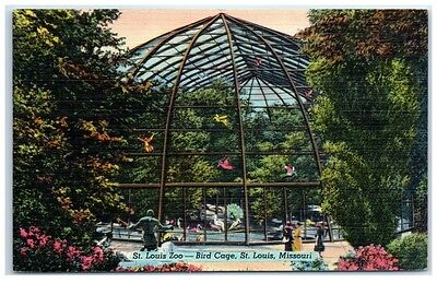 Mid-1900s Bird Cage, St. Louis Zoo, St. Louis, MO Postcard