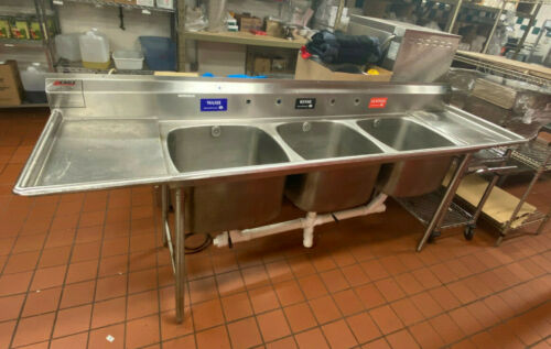 "EAGLE NSF 108"" Stainless Steel 3 Compartment Sink w/ 2 Drain Boards Heavy Duty"