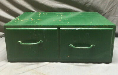 Vintage Green 2 Drawer Box Cabinet Cupboard Parts 133-19L