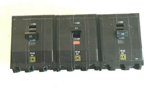 Square D Circuit Breaker Lot of 3 Type QOB 3 Poles 20A 50/60Hz New Free Shipping