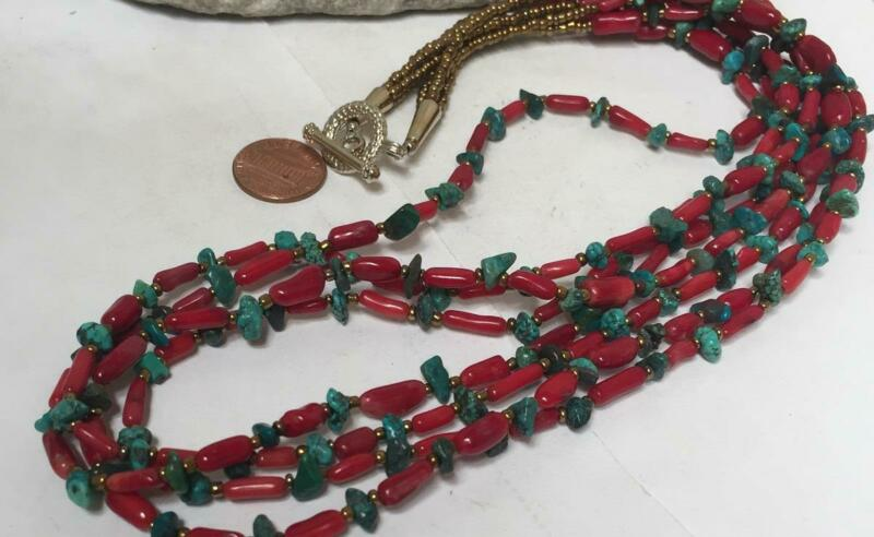 Multi-strands rustic free form coral/turquoise nugget necklace (y234c-w2.5)