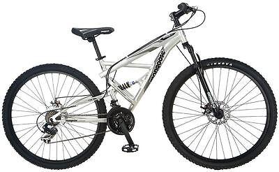 """Mongoose 29"""" Men's Impasse Dual Mountain Bike Bicycle - Silver"""