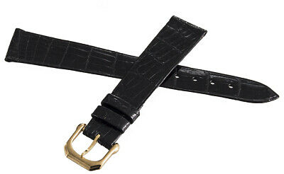 New PIAGET 17mm Black Alligator Leather Gold Buckle Watch Band Strap