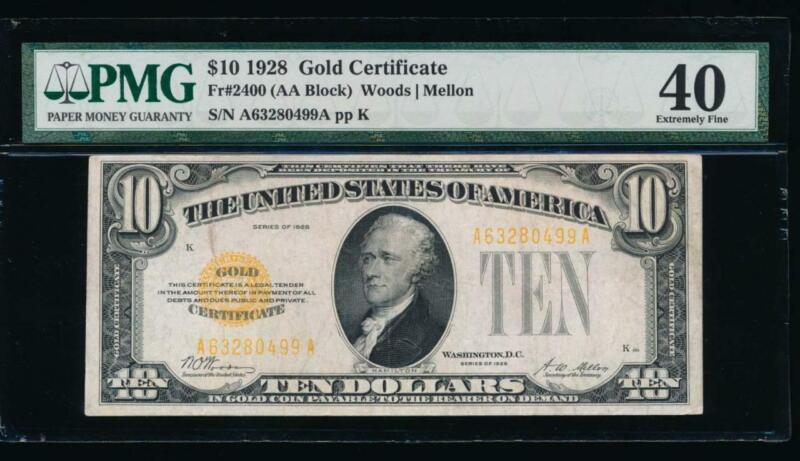 AC 1928 $10 Gold Certificate PMG 40 Fr 2400