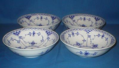 4 ROYAL COPENHAGEN BLUE FLUTED HALF LACE CEREAL BOWLS No 624 1st QUALITY ARTIST