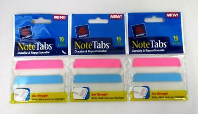 Lot Of 3 Avery Note Tabs 16 Pk Page Divider Write Mark Highlight Neon Colors A-2