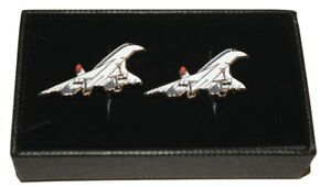 Concorde Cufflinks Gift Boxed Detailed White and Red Enamel Wedding accessory