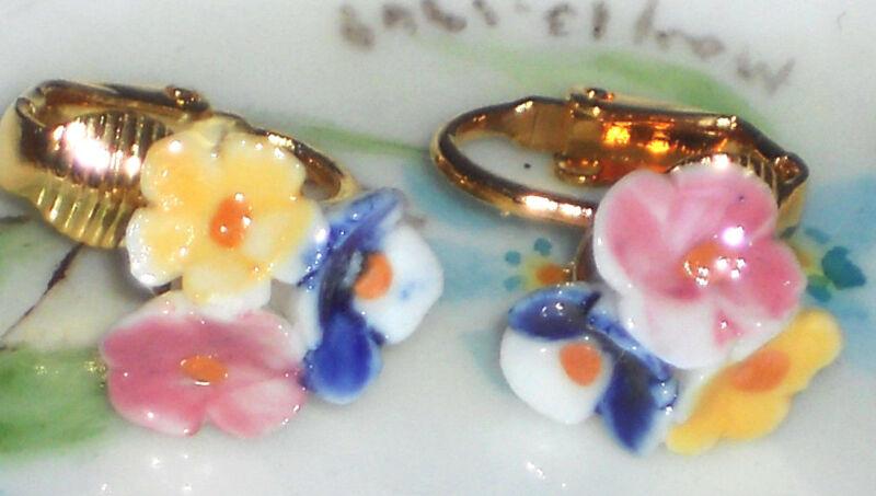 Vintage Flower Porcelain Gold plated Cluster Pastel Pink Clip On #1176G