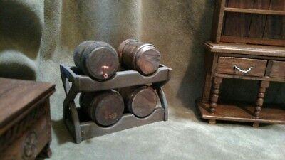 Medieval Tudor Barrel Rack and Barrels Dollhouse Miniature Artisan Made 1:12