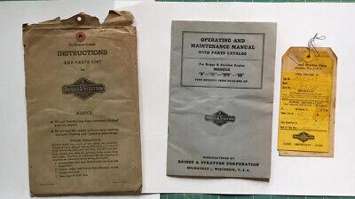 Vintage Briggs Stratton Models N Np Npr Nr Operating Maintenance Manual