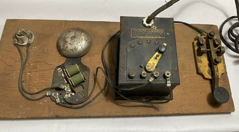Antique Homemade Telegraph Science Fair Antique Primitive