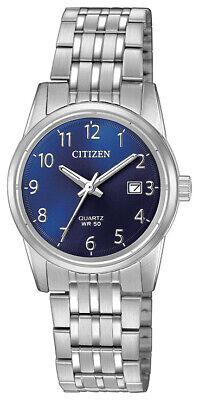 Citizen Quartz Women's Arabic Numerals Blue Dial Silver 27mm Watch EU6000-57L