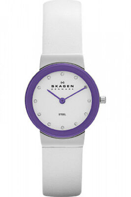 Skagen Brights - White Leather &Amp; Purple Dial Women's Watch (Bright White Dial)