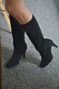 Brand New Suede Bootlegger Heeled Boots