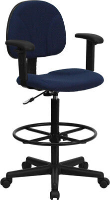 Ergonomic Multi Function Drafting Stool with Arms NAVY