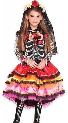 Sugar Skull Halloween Costume Male (Italian Made Girls Deluxe Day of the Dead Sugar Skull Fancy Dress Costume)