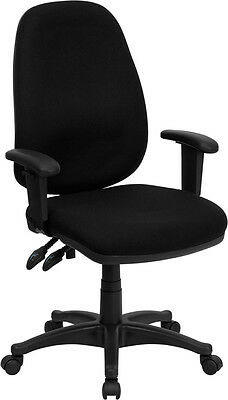 High Back Black Fabric Ergonomic Computer Chair with Height Adjustable Arms ()