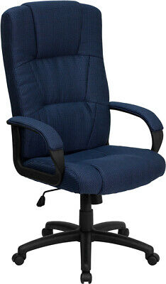High Back Navy Fabric Executive Office Desk Chair With Arms Adjustable Height